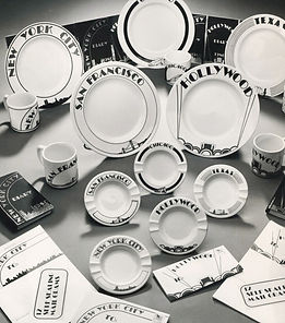 ceramic dinner plates, mugs ashtrays, stationery with city designsy