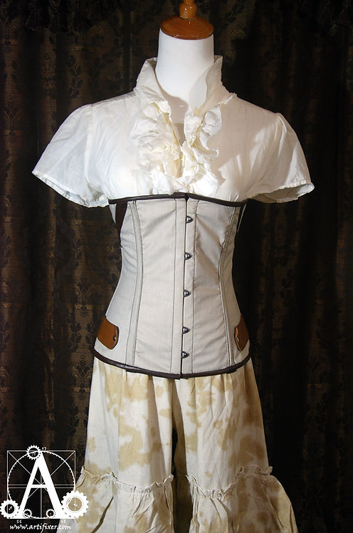 Demi-bust Cloth Corset with Two-Tone Leather Trim