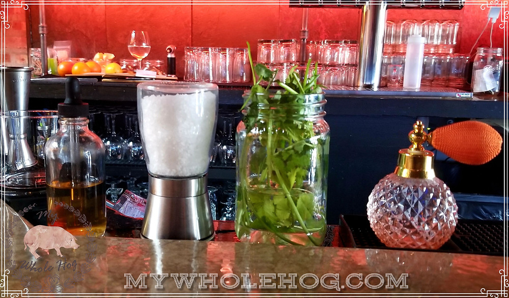 Detail of Allegory's bar. Check out that fresh cilantro!