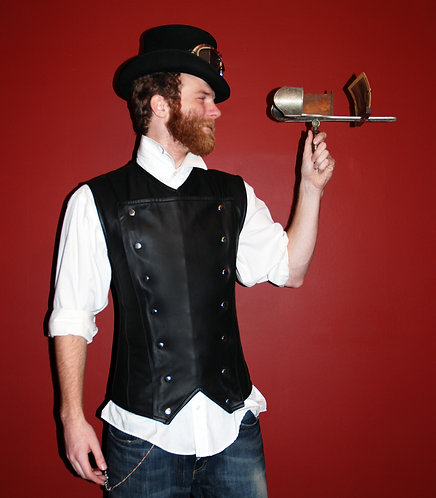 Men's Waistcoat-Style Leather Corset with Placket