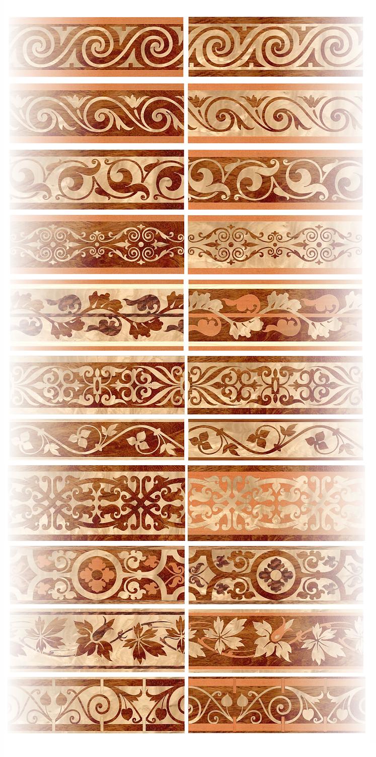 Бордюр в технике маркетри из шпона