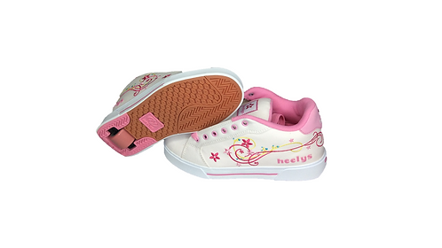 HEELYS BABY PINK AND WHITE FLOWER