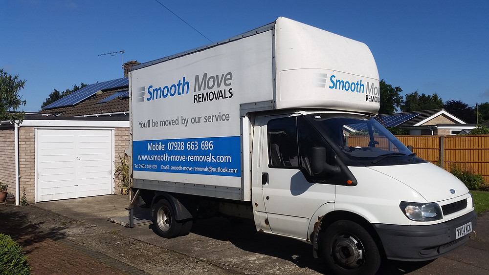 norwich removals van parked in driveway