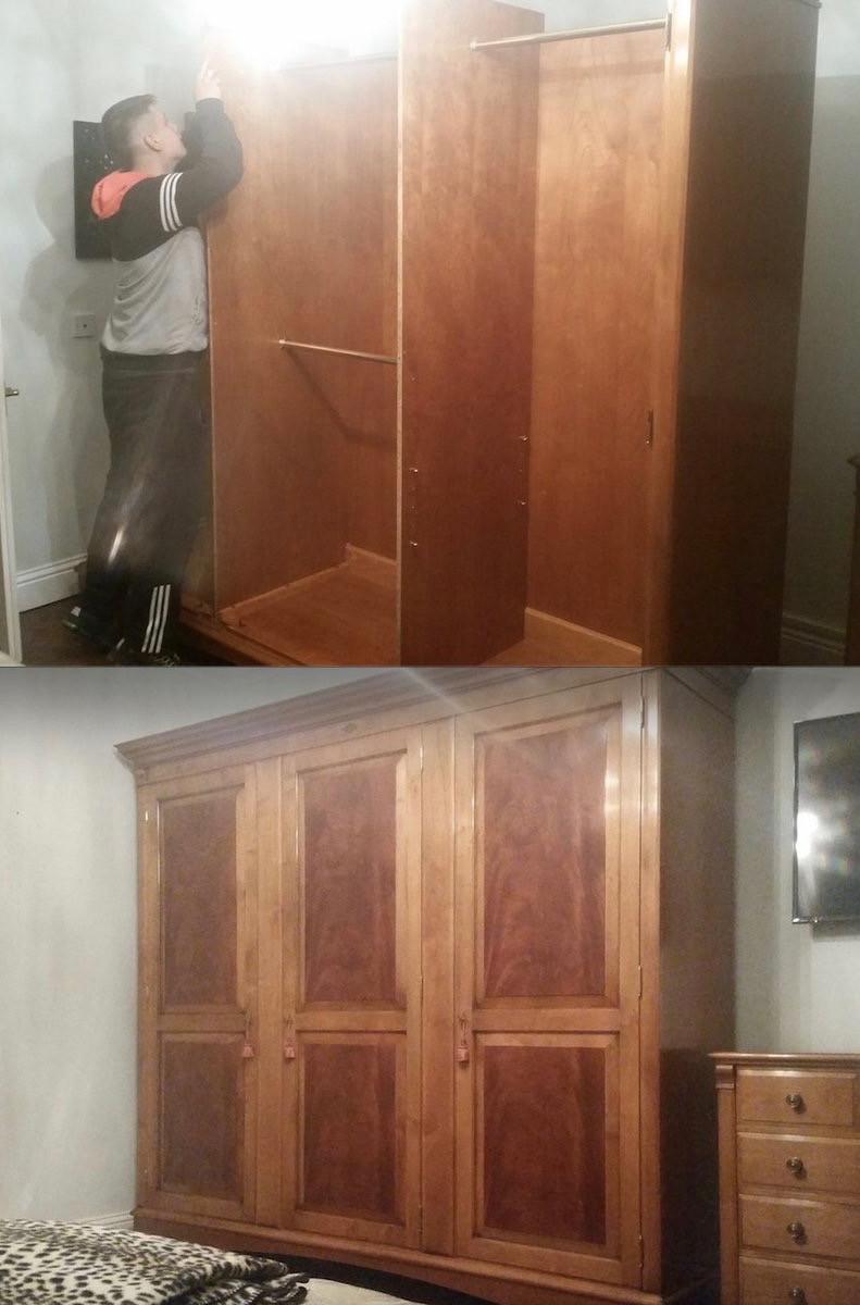 Removal man assembles wardrobe