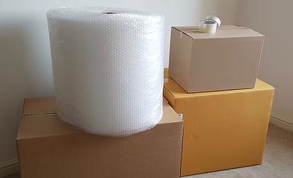 boxes, bubble wrap, tape