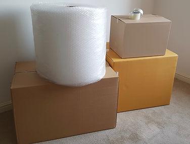 boxes bubble wrap tape