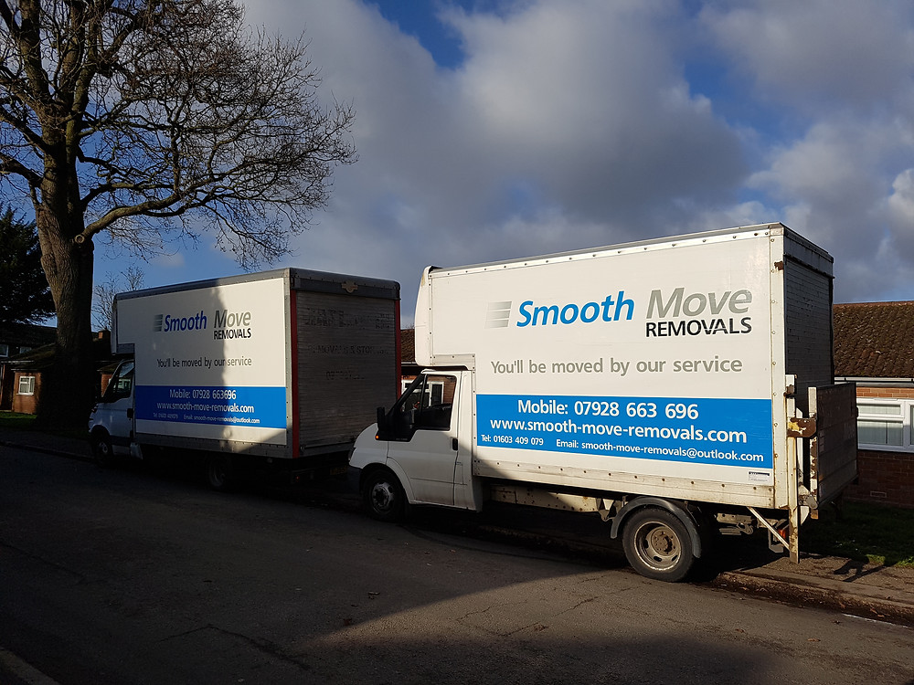 Norwich removals vans parked