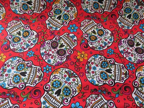Skulls on red background