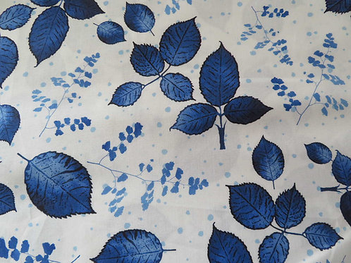 Blue leaves on white background