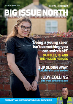 """A Big Issue North magazine cover with the headline - """"Being a young carer isn't something you can switch off"""""""