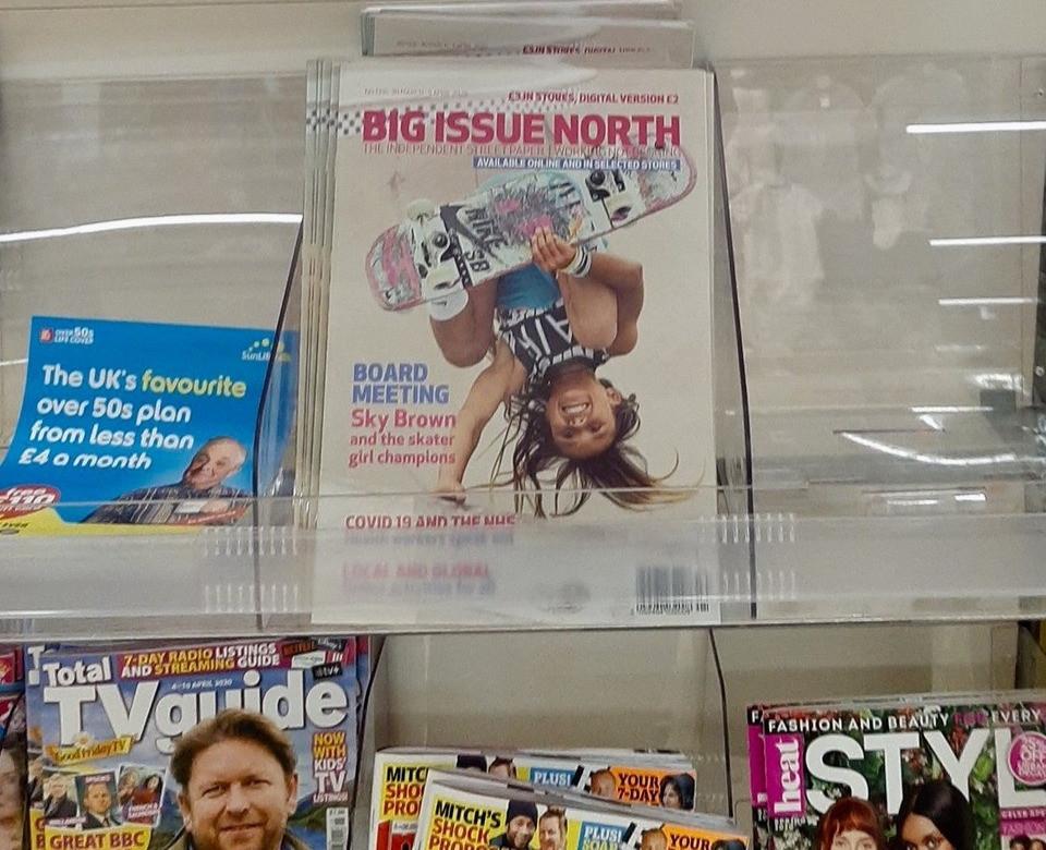 A #BigIssueNorthShelfie showing the Big Issue North magazine on a Sainsbury's store shelf