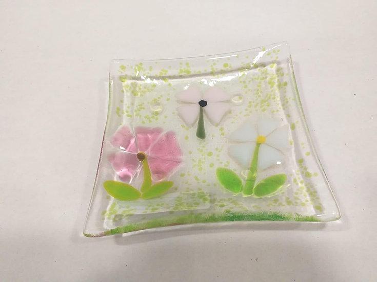 Glass flower dish