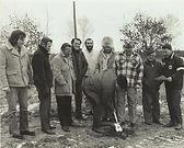 Groundbreaking snowmobile track at Mackinaw Club with Ford Martin is shoveling. From left to right: Paul Desy, Mike Wagner, Jim Pallagi, JC Stilwell, Ray Desy, Pat Desy, Don Bell, Lloyd Desy, Bill Gray