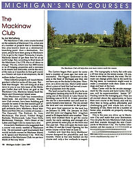 Michigan Golfer Magazine Article about Mackinaw Club Golf Course