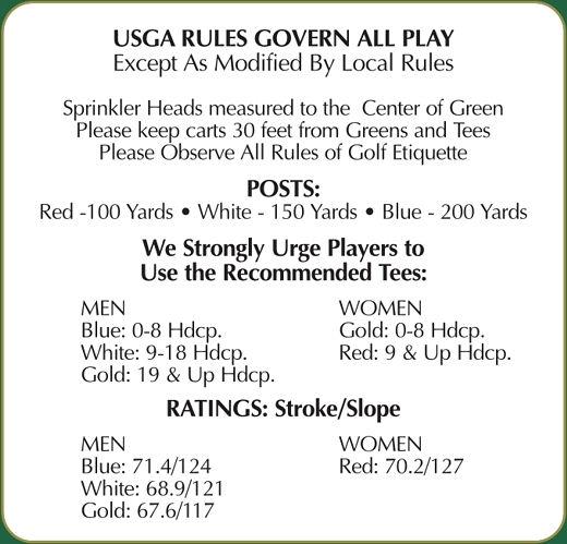 USGA Rules for Mackinaw Club Golf Course