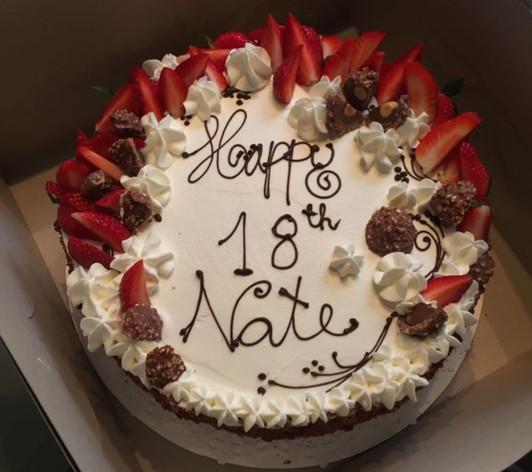 Chocolate cake, strawberry & cream