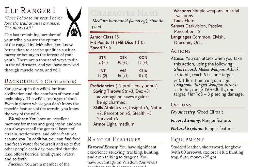 A sample of the 1st level Wood Elf Ranger