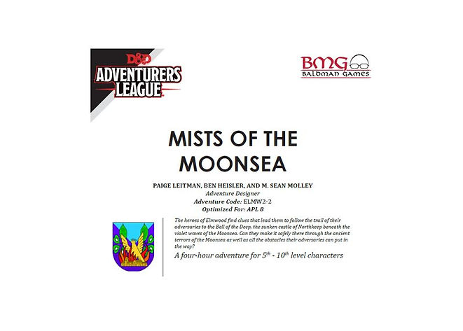Dungeons and Dragons Adventurers League CCC ELMW 2-2 Mists of the Moonsea