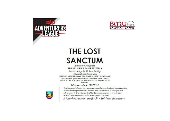 Dungeons and Dragons Adventurers League CCC ELMW1-2 The Lost Sanctum
