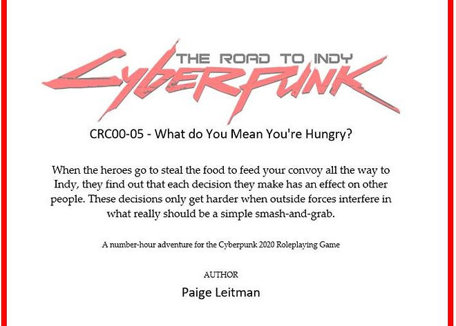 Cyberpunk: The Road to Indy - What Do You Mean You're Hungry?