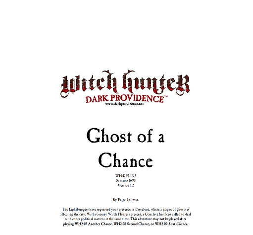 Witch Hunter Dark Providence Ghost of a Chance