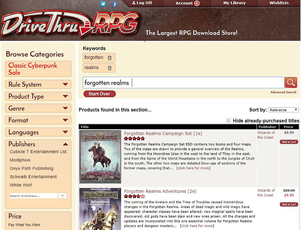 An image of the Drive Thru RPG site showing the Forgotten Realms sourcebooks
