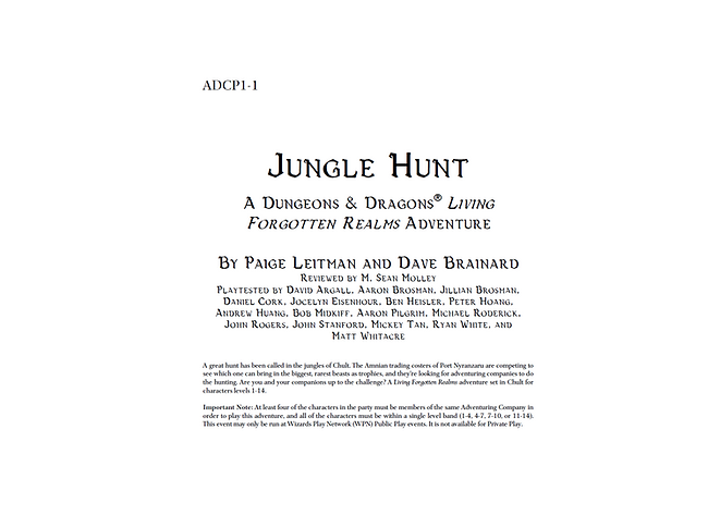 Dungeons and Dragons Living Forgotten Reams ADCP1-1 Jungle Hunt
