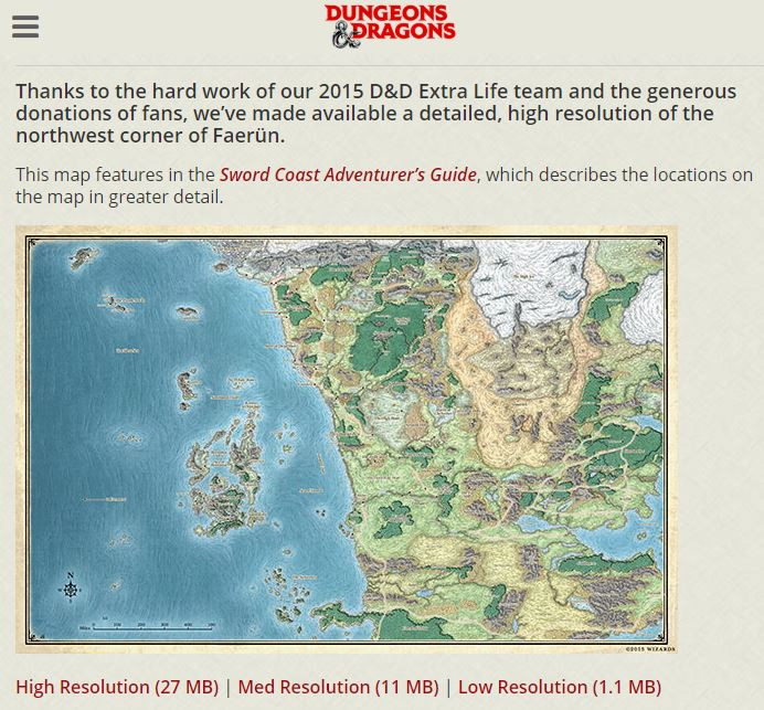 A picture of the WotC site where you can download a map of the Forgotten Realms.