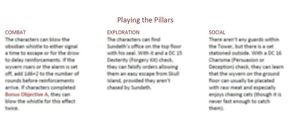 """A section of an adventure titled """"playing the pillars Combat, Exploration, Social"""" but the rest of the text is blurred."""