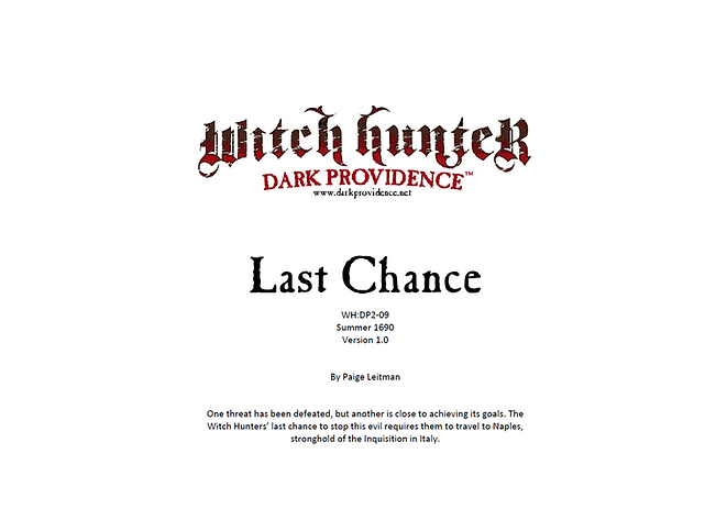 Witch Hunter Dark Providence Last Chance