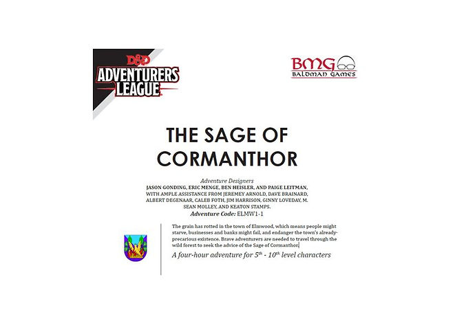 Dungeons and Dragons Adventurers League CCC ELMW1-1 The Sage of Cormanthor