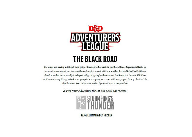Dungeons and Dragons Adventurers League 5-1 The Black Road