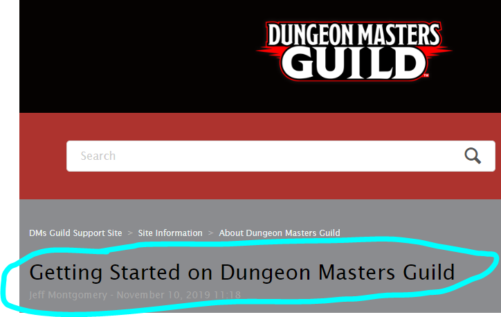 """Image of the DM's Guild """"start here"""" page."""
