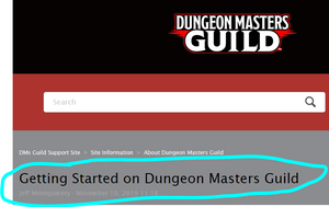 "Image of the DM's Guild ""start here"" page."