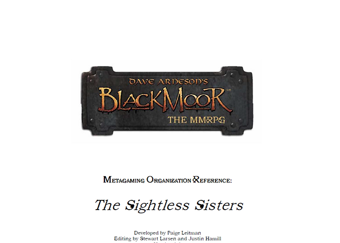 Dave Arneson's Blackmoor The Sightless Sistes Metagaming Organization Reference