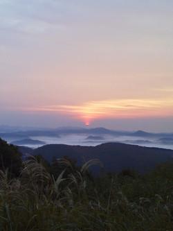 岡田山の霧の海と日の出