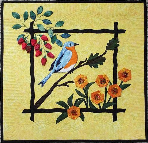 Blue Bird In The Garden Art Quilt