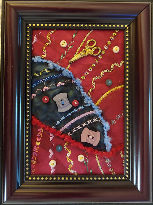 """""""Sew n' Sew"""" Art Quilt. Decorative stitches andembellished.ByCarol Daniels  Frame is included."""