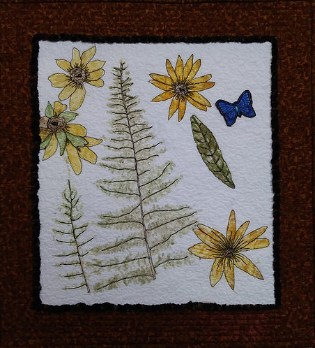 Flower pounding art quilt for sale
