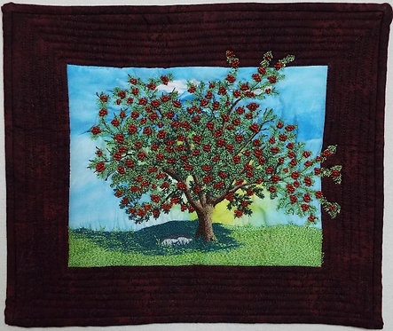 art quilt, hand beaded, free motion, mountain ash tree, quilt, art