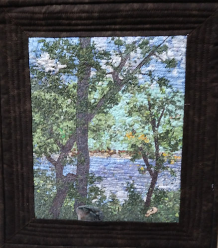 """""""Trees"""" Art Quilt  Shredded fabric, Tulle, Angelina fibers, Machine quilted. ByCarol Daniels"""