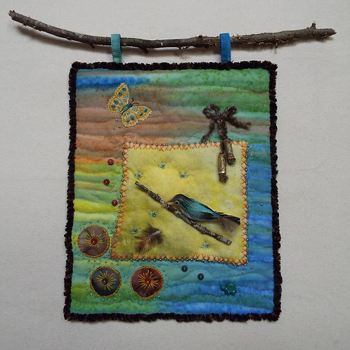 Bird On Branch Art Quilt
