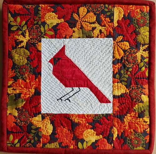 The Cardinal Art Quilt  Foundation pieced, Hand quilted, Hand embroidered
