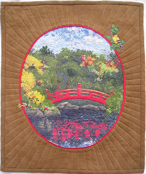"""The Red Bridge Art Quilt : 19"""" X 16"""". Shredded fabric, machine quilted applique, silk ribbon embroidery, machine applique"""
