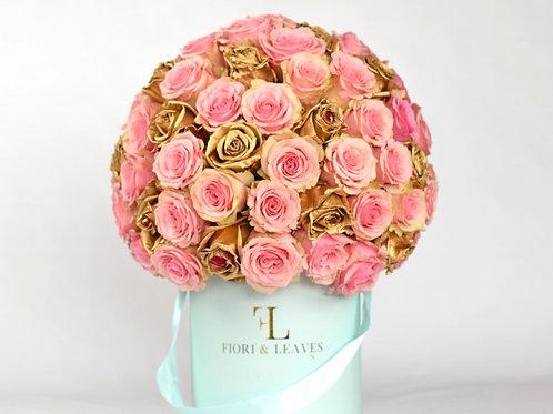 Special Order Full Dome (Medium)  -  Geraldine Pink & Gold Roses
