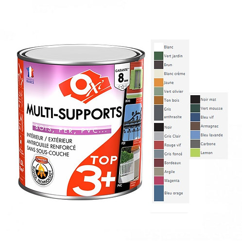 Peinture multi supports top 3 satin - noir -  500ml
