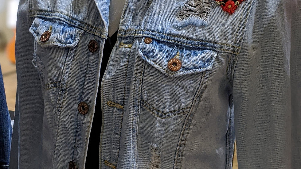 Reworked denim jacket size 8-10