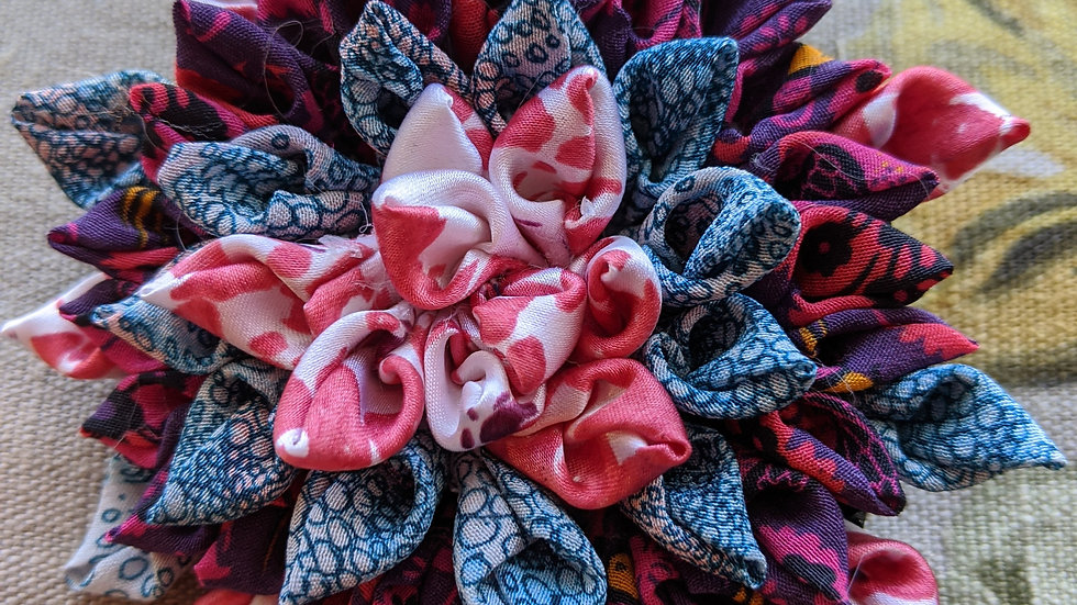 Dahlia fabric flower brooch made with upcycled Liberty silks