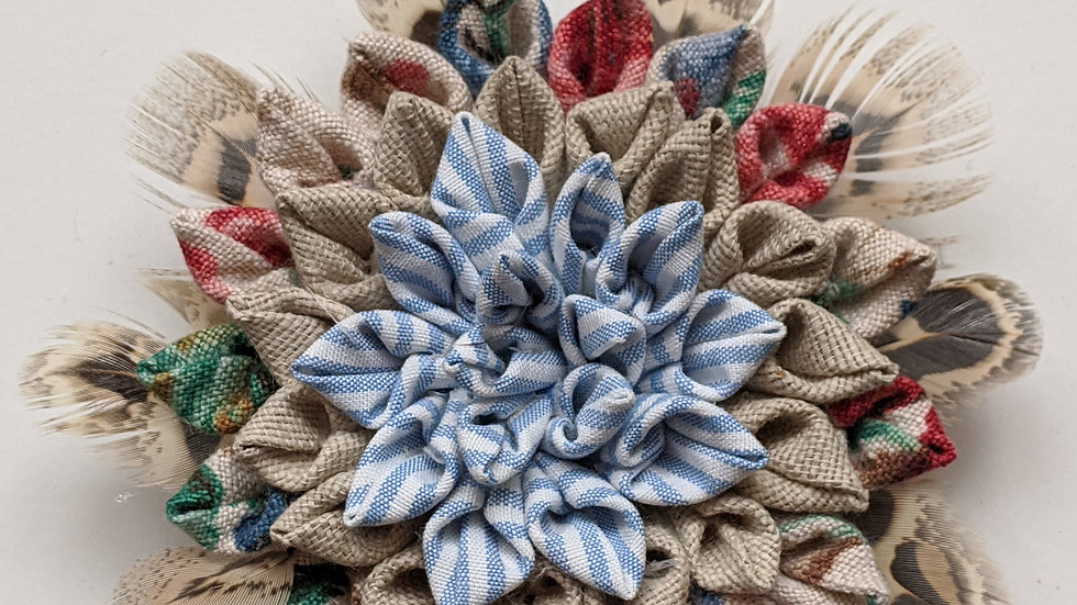 Dahlia fabric flower brooch made with vintage fabrics and feathers