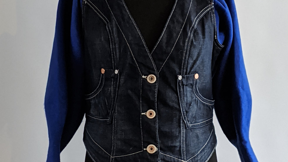 Customised denim gilet with sweatshirt quirky sleeves size 12/14